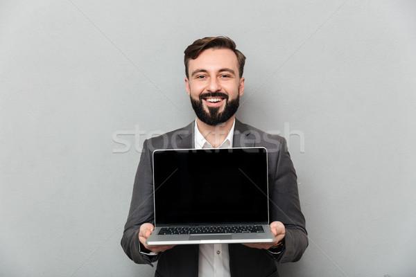 Foto sorridere barbuto uomo argento Foto d'archivio © deandrobot