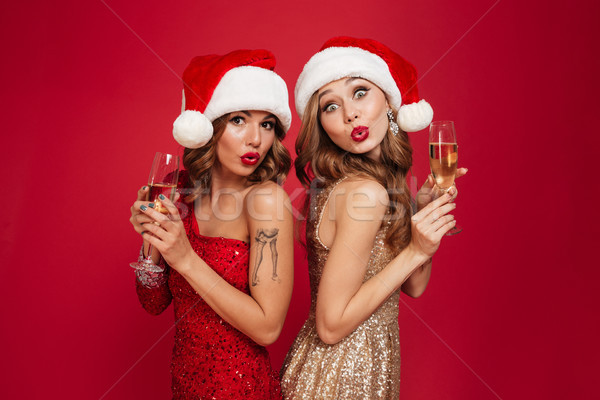 Two lovely pretty girls in christmas hats Stock photo © deandrobot