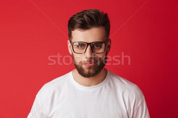 英俊 年輕 微笑 男子 眼鏡 商業照片 © deandrobot