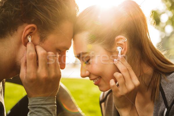 Obraz romantyczny człowiek kobieta 20s Zdjęcia stock © deandrobot