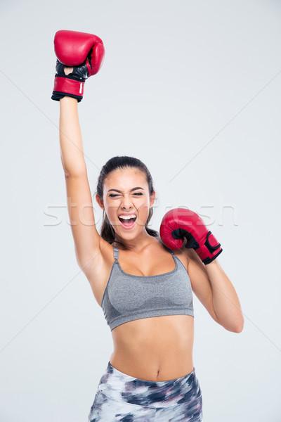 Фитнес-женщины боксерские перчатки победу портрет успех Сток-фото © deandrobot