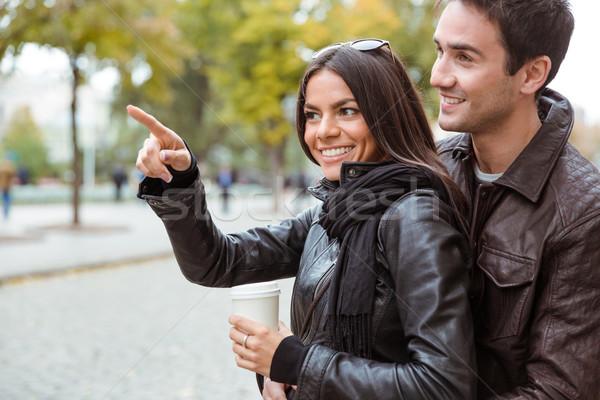 女性 ポインティング 指 彼氏 屋外 ストックフォト © deandrobot