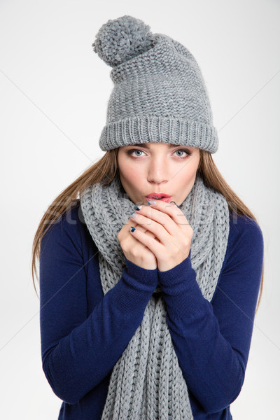 Beautiful woman blowing in her hands  Stock photo © deandrobot