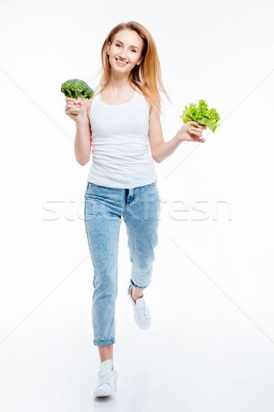 Boldog nő karfiol zöld saláta teljes alakos Stock fotó © deandrobot