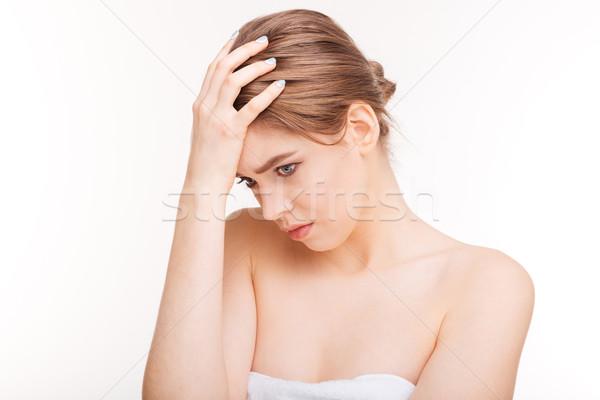 Belleza retrato mujer pie aislado Foto stock © deandrobot