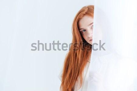 Mulher cortina bastante luz beleza Foto stock © deandrobot