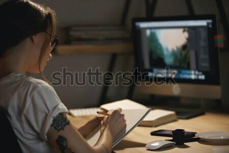 Stockfoto: Gericht · man · studeren · donkere · kamer