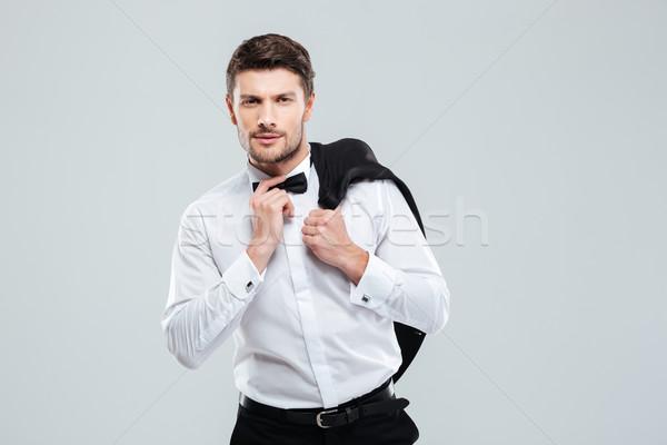 Man smoking permanente jas business Stockfoto © deandrobot