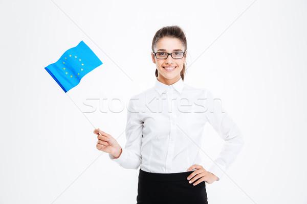 Souriant jeunes femme d'affaires verres pavillon Photo stock © deandrobot