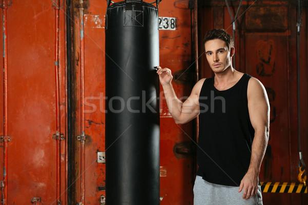 Yakışıklı boksör ayakta spor salonu portre güçlü Stok fotoğraf © deandrobot