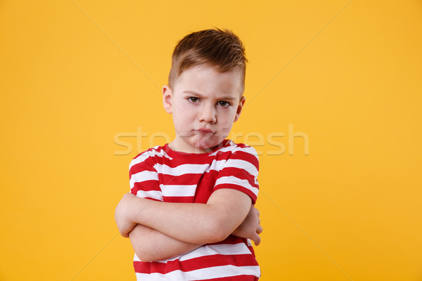 Portrait of a frowning upset little boy looking at camera Stock photo © deandrobot