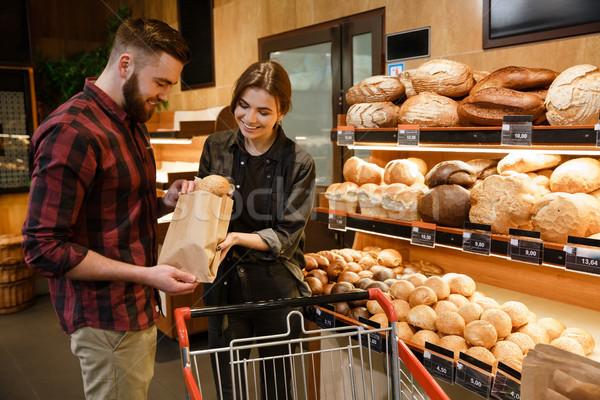 笑みを浮かべて 愛する カップル スーパーマーケット ストックフォト © deandrobot