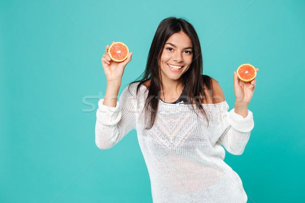 Sonriendo atractivo dos pomelo Foto stock © deandrobot