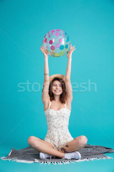 портрет счастливым лет девушки соломенной шляпе Сток-фото © deandrobot