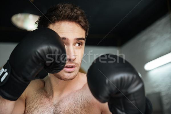 Bokser rękawice kopać widok z boku zagęszczony człowiek Zdjęcia stock © deandrobot