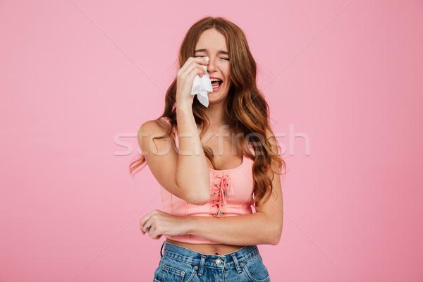 Portret triest jonge vrouw zomer kleding ontdaan Stockfoto © deandrobot