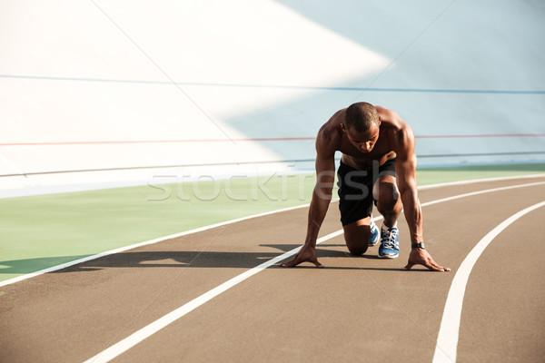 Tineri Afro american sport om pozitie Imagine de stoc © deandrobot