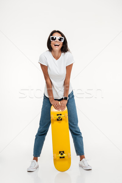 портрет счастливым женщину Солнцезащитные очки Сток-фото © deandrobot