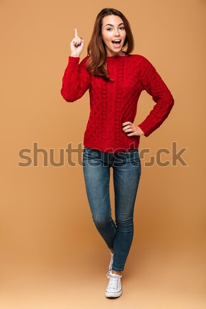 портрет счастливым красивая женщина красный трикотажный Сток-фото © deandrobot