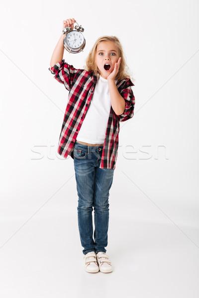Tam uzunlukta portre küçük kız çalar saat Stok fotoğraf © deandrobot