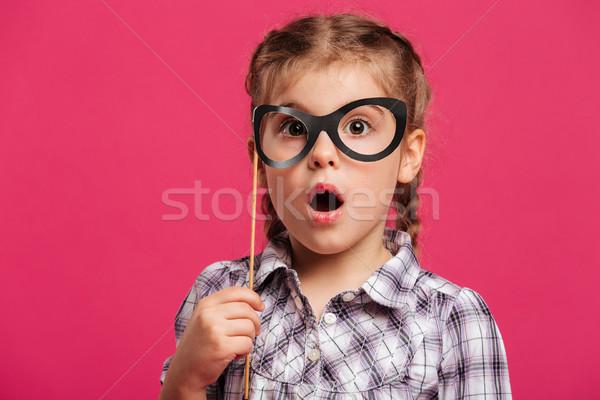 Dziewczynka dziecko podróbka okulary Zdjęcia stock © deandrobot