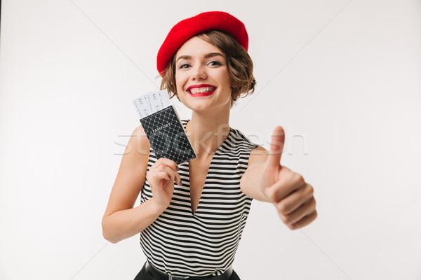 портрет радостный женщину красный берет Сток-фото © deandrobot