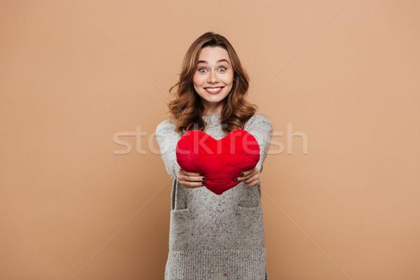 Stockfoto: Gelukkig · brunette · vrouw · grijs · gebreid · trui