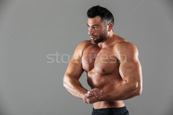 Portrait musculaire fort torse nu Homme bodybuilder Photo stock © deandrobot
