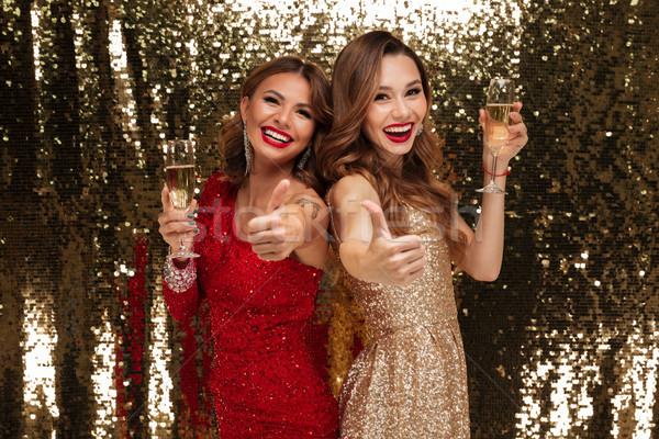 Retrato dos feliz alegre brillante vestidos Foto stock © deandrobot