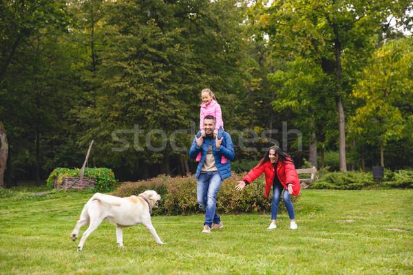 Mutlu aile labrador retriever köpek oynama park kadın Stok fotoğraf © deandrobot