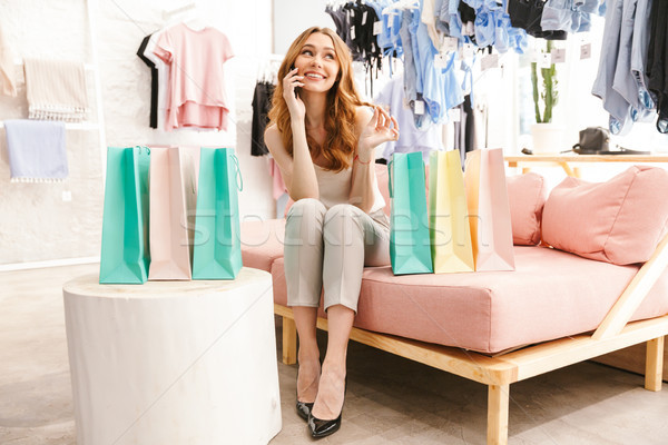 Foto stock: Feliz · sesión · ropa · tienda