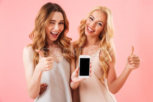 2 幸せ かなり 女性 パジャマ ポーズ ストックフォト © deandrobot