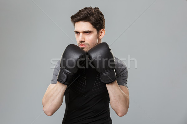 Concentrated young sportsman boxer make sport exercises wearing gloves. Stock photo © deandrobot
