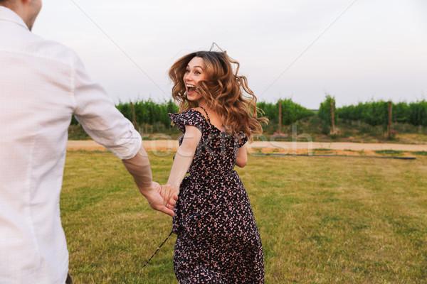ストックフォト: 幸せ · 男 · 女性 · 徒歩 · 屋外