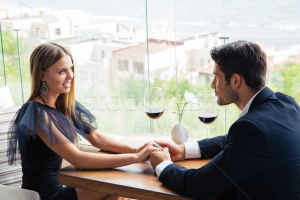 çift tarih restoran mutlu kız sevmek Stok fotoğraf © deandrobot