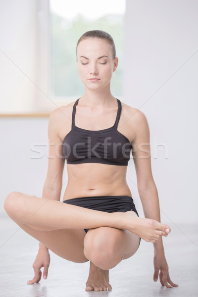 Foto stock: Mujer · yoga · gimnasio · retrato · mujer · bonita