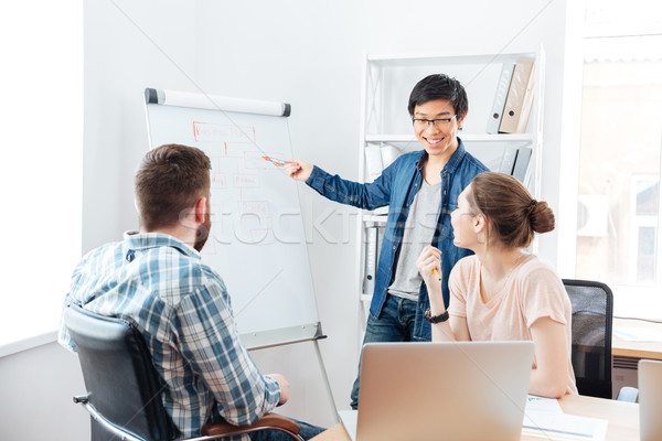 Smilling man making presentation to his colleagues and using flipchart Stock photo © deandrobot