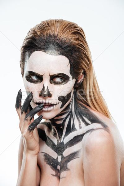 Portret kobieta przerażający bać makijaż biały Zdjęcia stock © deandrobot
