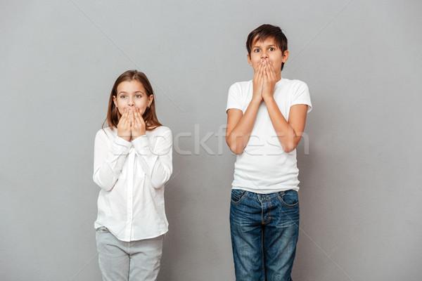 два Cute детей покрытый рот рук Сток-фото © deandrobot