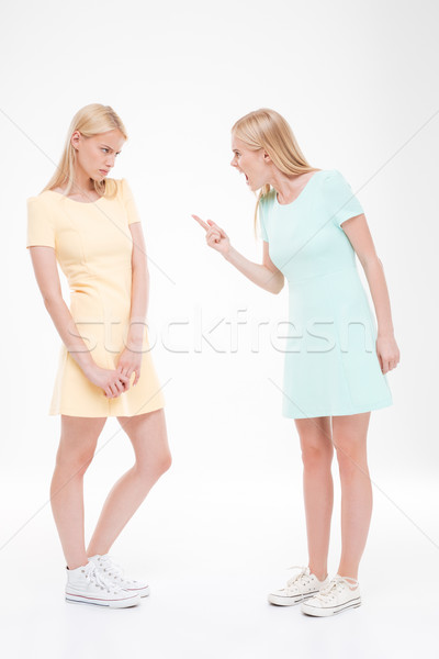 Two girlfriends swear over white background Stock photo © deandrobot