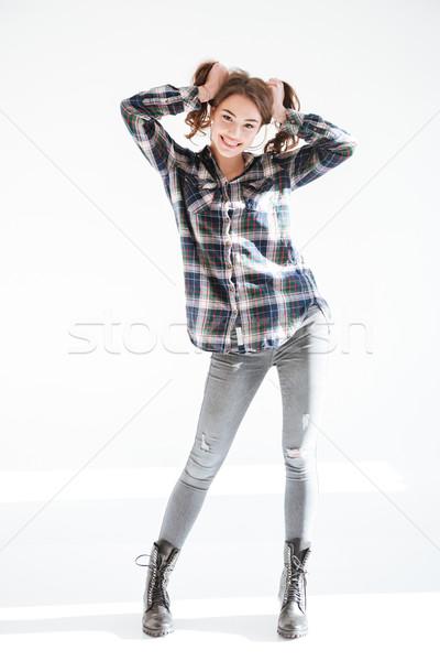 Teljes alakos vicces fiatal nő készít kezek fehér Stock fotó © deandrobot