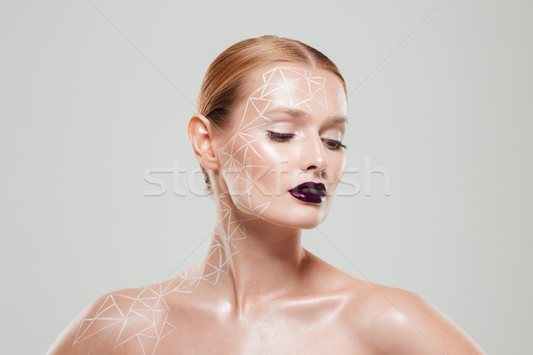 Beauty portrait of woman with unusual make up Stock photo © deandrobot