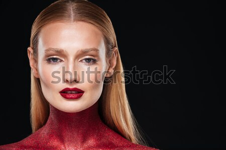 Cropped portrait of woman with body art Stock photo © deandrobot