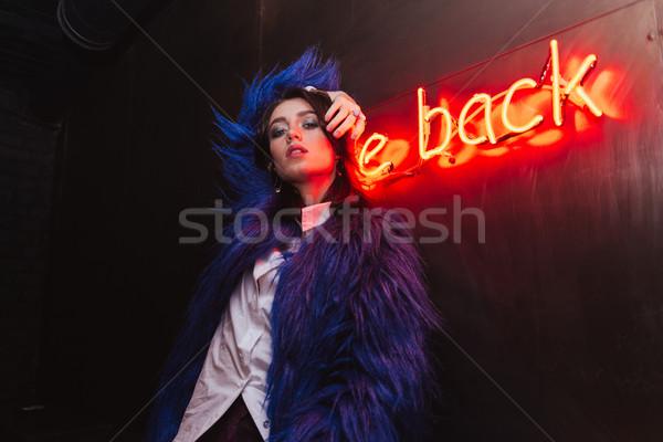 Ciddi genç kadın poz açık havada gece fotoğraf Stok fotoğraf © deandrobot
