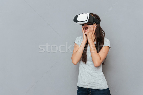 驚いた 女性 バーチャル 現実 スタジオ ストックフォト © deandrobot