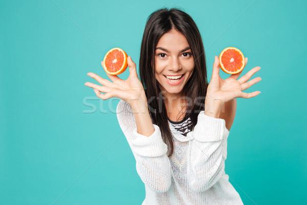 幸せ 若い女性 立って 2 グレープフルーツ ストックフォト © deandrobot