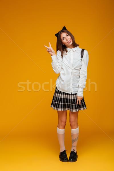 Foto stock: Retrato · funny · colegiala · uniforme · mochila