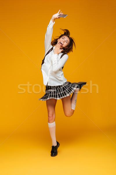 Сток-фото: портрет · счастливым · школьница · равномерный