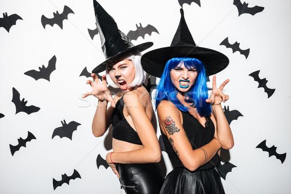 Young women in halloween costumes on party Stock photo © deandrobot