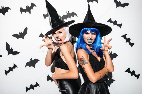 Fiatal nők halloween jelmezek buli fotó kettő Stock fotó © deandrobot